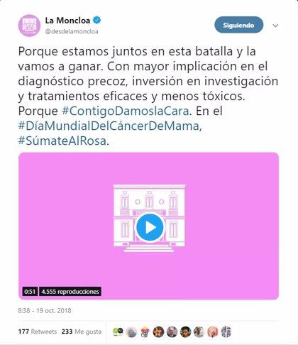El Gobierno asegura en Twitter que la batalla del cáncer de mama se ganará con más inversión en investigación