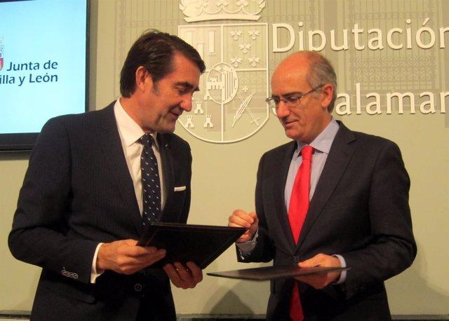 Suárez-Quiñones y el presidente de la Diputación.