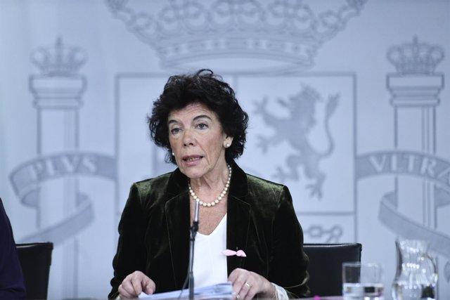 Isabel Celaá en rueda de prensa tras el Consejo de Ministros del Gobierno