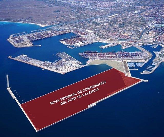 Recreación de la nueva terminal de contenedores del puerto de València