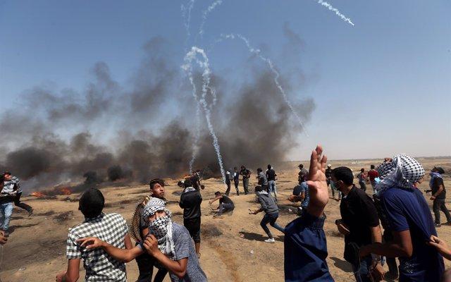 Heridos al menos 130 palestinos por la intervención de Israel contra nuevas protestas en Gaza