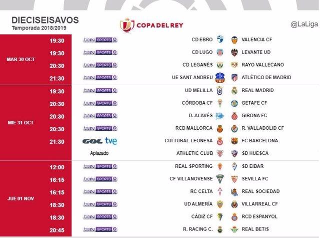 Horarios Copa del Rey