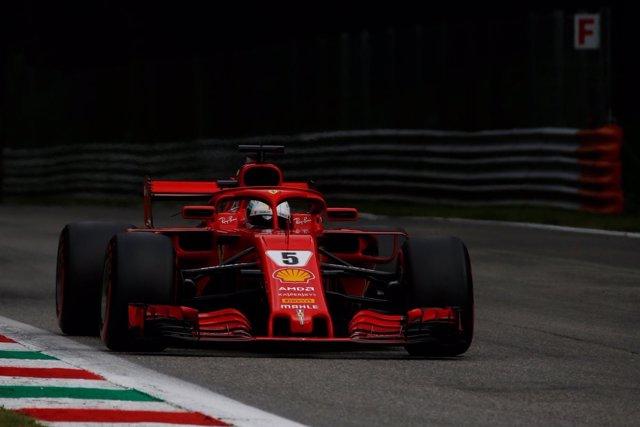 Sebastian Vettel (Ferrari), en el circuito de Monza