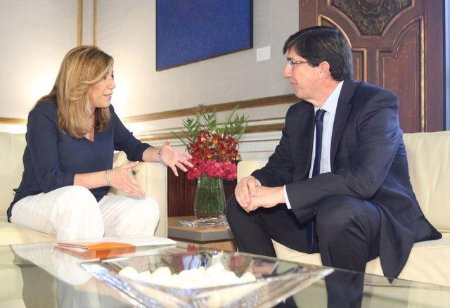 Susana Díaz y Juan Marín (Cs) reunidos en el Palacio de San Telmo