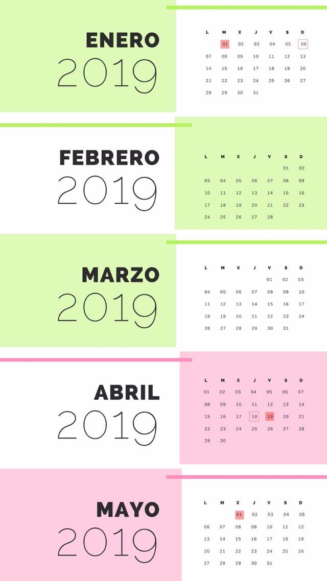 Calendario Laboral Castilla Y Leon 2020.El Calendario Laboral De 2019 Recoge 12 Dias Festivos Solo 8
