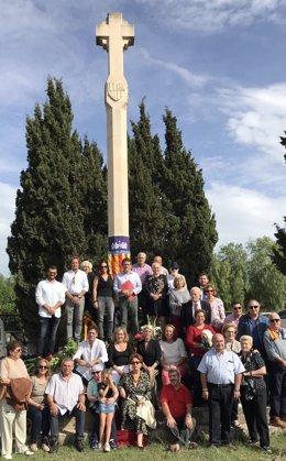 Organizadores de la ofrenda a Jaime III en Llucmajor