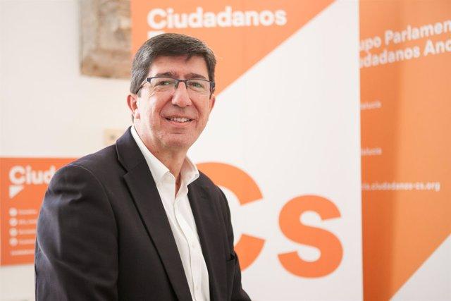 El líder de Cs Andalucía, Juan Marín, durante la entrevista