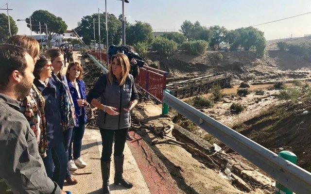 Susana Díaz espera que el Gobierno apruebe en cuestión 'de días' ayudas para los municipios afectados por el temporal