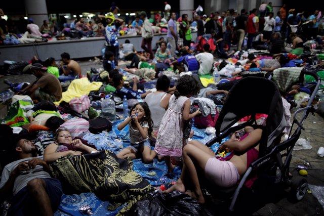 Caravana de migrantes centroamericanos en Tapachula (México)