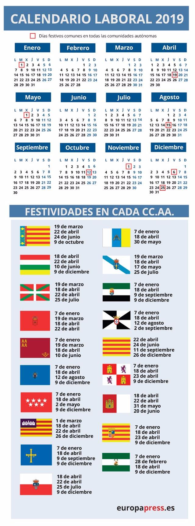 Calendario Festivo.Calendario Laboral De 2019 Los Festivos Por Comunidades