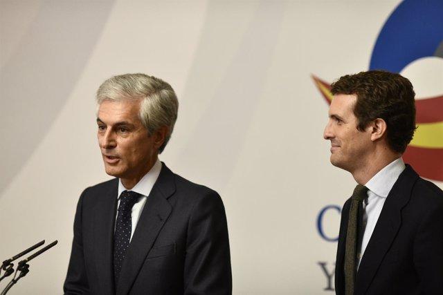 Pablo Casado y Adolfo Súarez Illana, reunión del patronato de la Fundación Conco