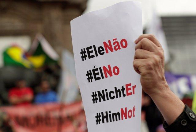 Manifestación contra el ultraderechista brasileño Jair Bolsonaro