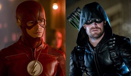 Primer vistazo a Stephen Amell como The Flash y Grant Gustin como Arrow en el set de Elseworlds