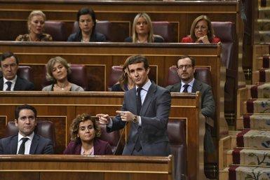 """Casado denuncia que Sánchez permeti a Iglesias negociar amb Puigdemont i Junqueras: """"El més digne és anar a eleccions"""" (Oscar del Pozo - Europa Press)"""