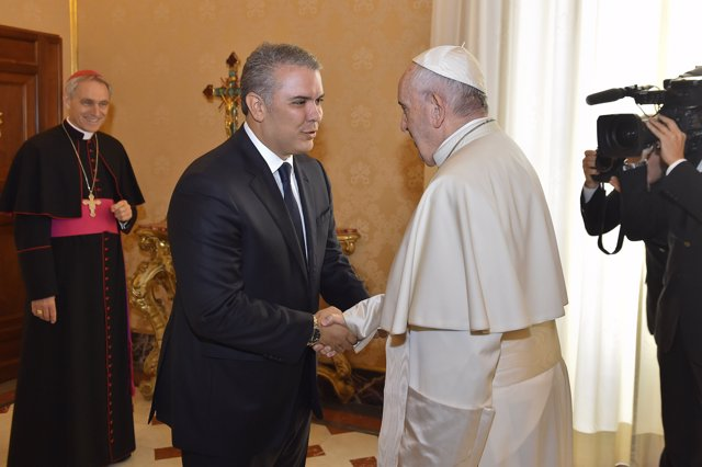 El presidente de Colombia, Iván Duque, y el Papa Francisco