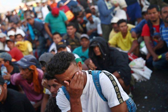 Caravana de migrantes centroamericano en Ciudad Hidalgo (México)