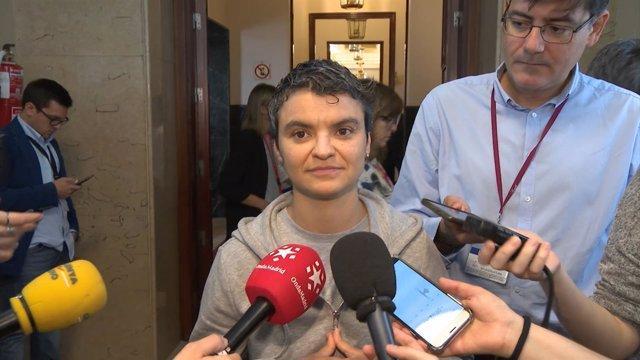 La portavoz de En Comú Podem, Lucía Martín, en el Congreso de los Diputados