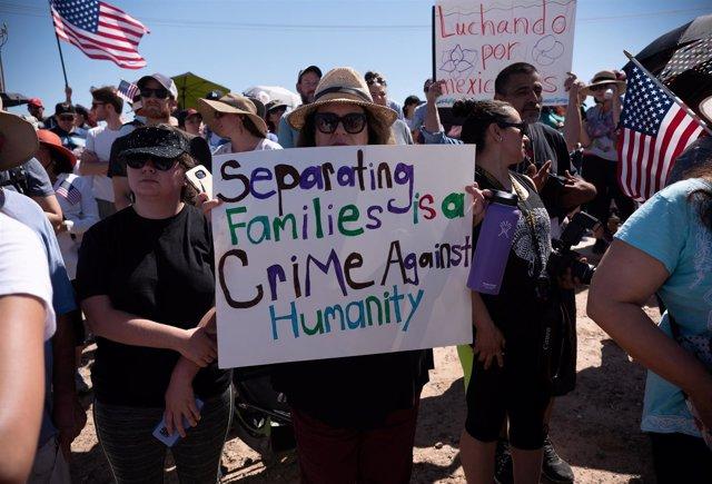Protesta contra la separación de familias migrantes en Estados Unidos