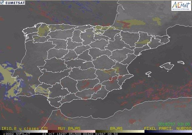 Mapa meteorológico de la mañana del miércoles 24
