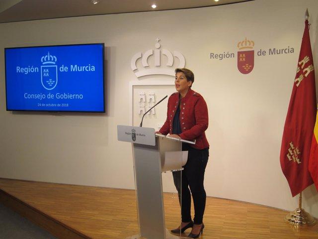 Noelia Arroyo, en la rueda de prensa posterior al Consejo de Gobierno