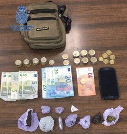 Dinero y droga intervenidos al detenido