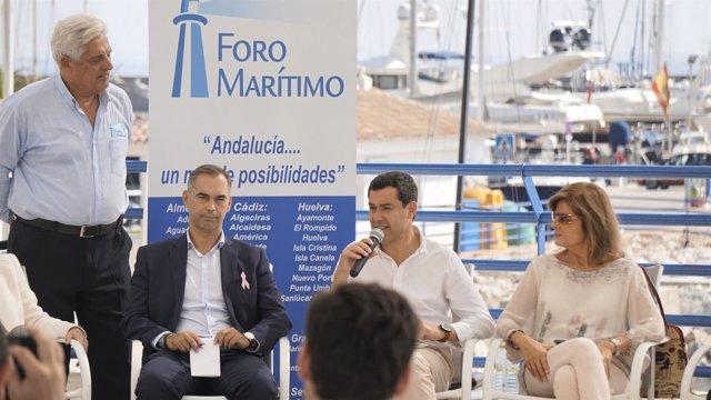 Juanma moreno PP andaluz con oña encuentro puertos deportivos sector náutico