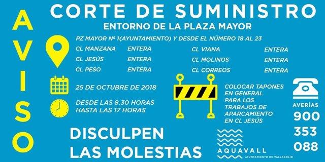 Anuncio de los cortes de Aquavall en Valladolid 24-10-2018