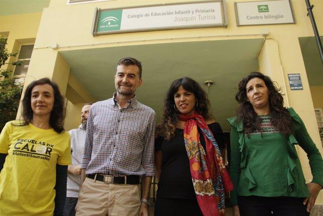 Los líderes de Adelante Andalucía, reunidos con Escuelas de Calor