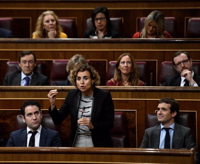 Dolors Montserrat, en la sesión de control