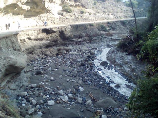Carretera cortada afectada por las lluvias precipitaciones octubre málaga