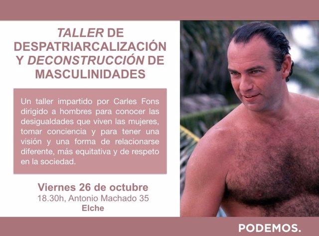 Cartel del taller organizado por Podem Elx