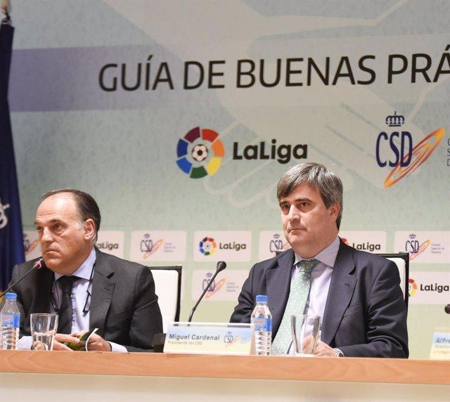Javier Tebas y Miguel Cardenal en un acto en el CSD