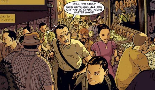 El joven Bruce Wayne y Alfred en los cómics de Batman