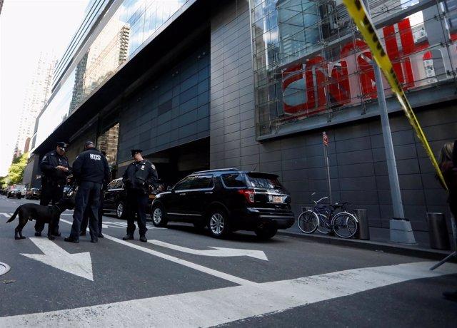 Dispositivo de seguridad en la sede de CNN en Nueva York