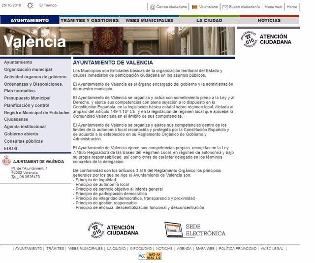 Web del Ayuntamiento de València