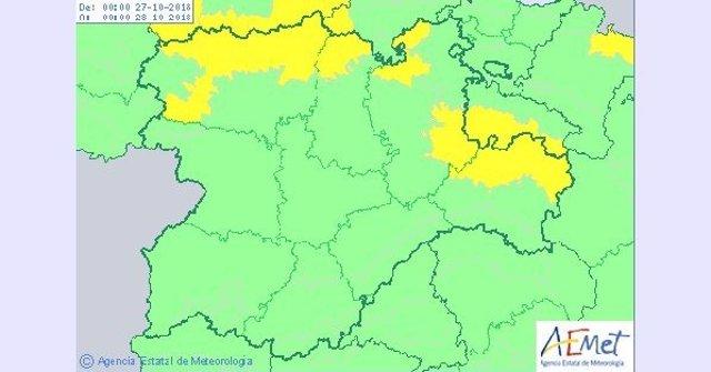 Mapa descriptivo del aviso por nieve en CyL para el sábado