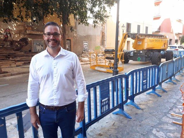 El regidor de Urbanismo, José Hila, en la demolición de un edificio en Palma