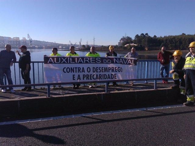 Concentración de empleados de las auxiliares del naval de Ferrol