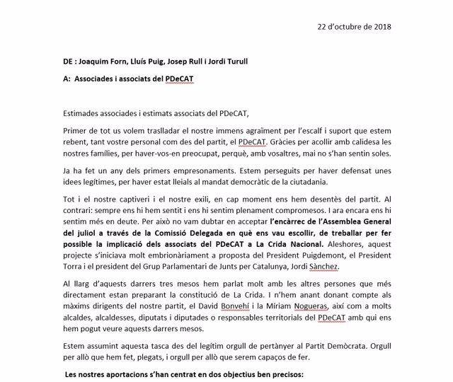Carta de Forn, Puig, Rull y Turull sobre el PDeCAT y la Crida