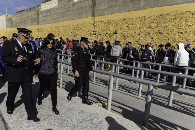 La secretaria de Estado de Seguridad, Ana Botella, en Ceuta