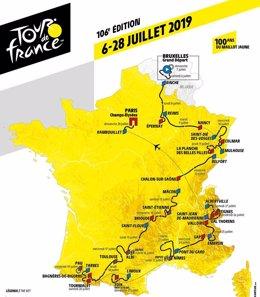 Mapa del recorrido del Tour de Francia de 2019