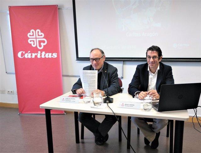 Carlos Sauras y Jesús Luesma este jueves en Zaragoza.