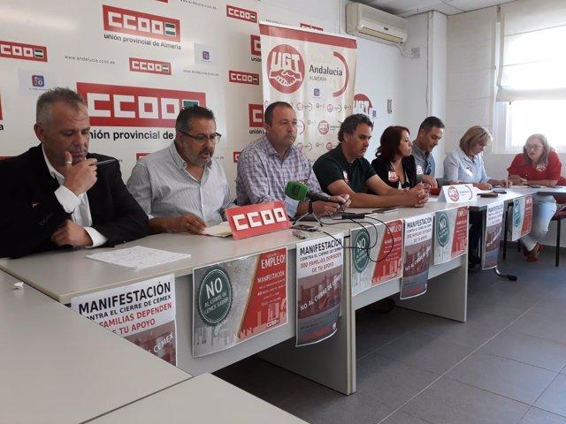 CCOO y UGT en rueda de prensa sobre el ERE de Cemex