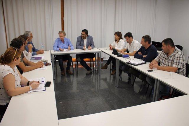 Conseller de Agricultura, V. Vidal, y alcaldes de municipios inundados