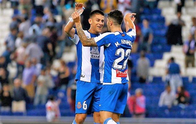 Mario Hermoso celebra un gol con el Espanyol