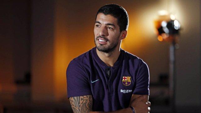 Luis Suárez en la entrevista a los medios del FC Barcelona antes del Clásico