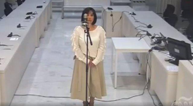 Captura de pantalla, Claudia Patricia Díaz Guillén declarando en España