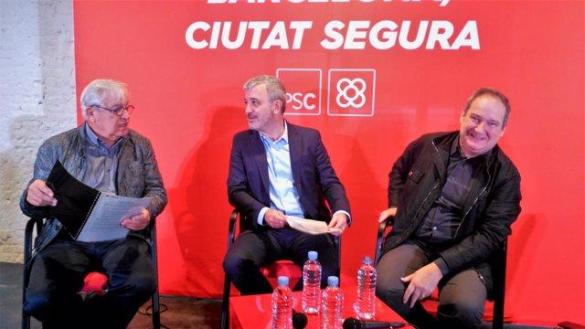 Exalcalde J.Clos, líder del PSC en Barcelona., J.Collboni, y exalcalde J.Hereu