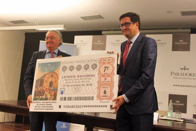 Los presidentes de Paradores y Loterías en la presentación en Cádiz