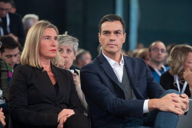 Pedro Sánchez en un acto del Partido Democrático Italiano